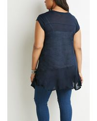 Forever 21 Blue Plus Size Contrast-stitched Trapeze Tunic