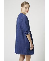 TOPSHOP Blue Moto Embroidered Smock Dress