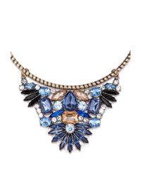 Forever 21 | Blue Rhinestone Flower Collar Necklace | Lyst