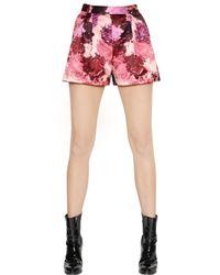 MSGM Pink Make-Up Printed Duchesse Shorts