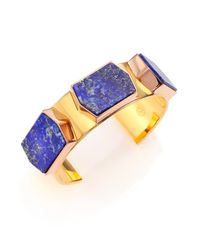 Tory Burch - Blue Lapis Three-stone Cuff Bracelet - Lyst