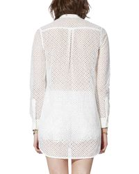 Maje - White Chef Sheer Lace Shirt - Lyst