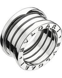 BVLGARI - Gray B.zero1 Four-band Stainless Steel Ring - Lyst