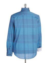 Calvin Klein | Blue Cotton Plaid Button-Down Shirt for Men | Lyst