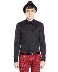 John Richmond Black Studded Stretch Cotton Poplin Shirt for men