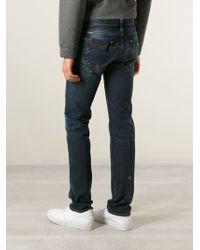 Emporio Armani - Blue Paint Splatter Effect Jeans for Men - Lyst