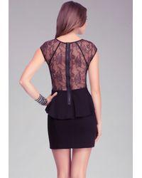 Bebe Black Lace Inset Side Peplum Dress