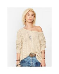 Denim & Supply Ralph Lauren Natural Cable-knit Boatneck Sweater