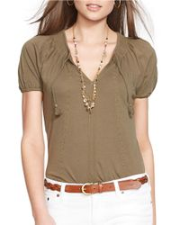 Lauren by Ralph Lauren | Green Embroidered Cotton Top | Lyst
