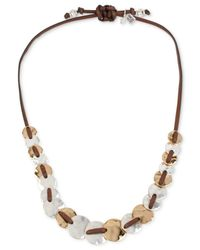 Robert Lee Morris | Metallic Two-tone Leather Disc Necklace | Lyst