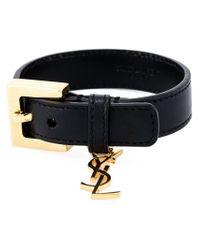 Saint Laurent - Black Buckled Bracelet - Lyst