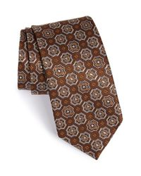 David Donahue Brown Medallion Silk Tie for men