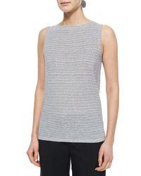 Eileen Fisher - White Sleeveless Striped Jersey Shell - Lyst
