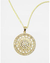 Effy | Metallic D Oro 14 Kt Gold Diamond Pave Medallion Pendant Necklace | Lyst