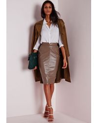 Missguided - Brown Tall Back Split Faux Leather Midi Skirt Taupe - Lyst