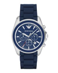 Emporio Armani - Stainless Steel Blue Chronograph Rubber Strap Watch for Men - Lyst
