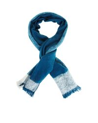 BCBGMAXAZRIA Blue Brushed Color-blocked Wrap Scarf