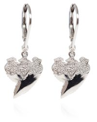 Stone - White Gold And Diamond Jaws Earrings - Lyst