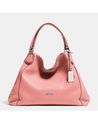 COACH Pink Edie Shoulder Bag In Pebble Leather