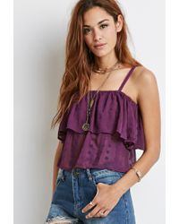 Forever 21 | Purple Floral-embroidered Flounce Cami | Lyst