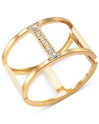 INC International Concepts | Metallic Gold-Tone Pavé Bar Hinged Bangle Bracelet | Lyst