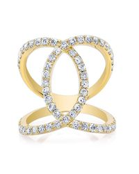 Anne Sisteron | Metallic 14kt Yellow Gold Diamond Luxe Cigar Band Ring | Lyst