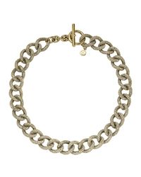 Michael Kors | Metallic Golden Pave Curb-Link Toggle Necklace | Lyst