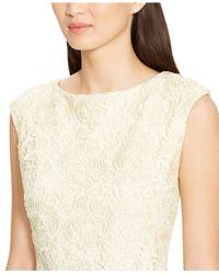 Lauren by Ralph Lauren - Natural Lace Boat-Neck Dress - Lyst