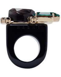 Marni | Green Black Resin And Horn Ring | Lyst