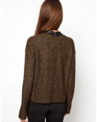 Esprit - Brown Jumper with Leather Look Collar and Pocket - Lyst