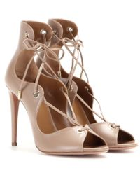 Aquazzura   Natural Tango Curvy Lace-up Sandal   Lyst