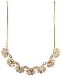 Givenchy | Metallic Gold-tone Silk Crystal Cluster Frontal Necklace | Lyst