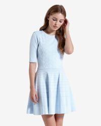 Ted Baker | Blue Stitch Detail Skater Dress | Lyst