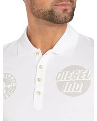 DIESEL | White Double Logo Badge Polo Shirt for Men | Lyst