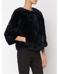 Diane von Furstenberg - Black Cropped Rabbit-Fur Jacket  - Lyst