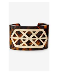 Express - Brown Cut-out Metal Tortoise Shell Cuff Bracelet - Lyst