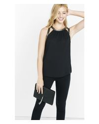 Express - Black Bead Embellished Cutout Tank - Lyst