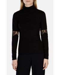 Karen Millen | Black Lace Jersey Top | Lyst