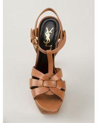 Saint Laurent - Brown 'tribute' Sandals - Lyst