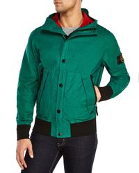 Stone Island | Green Hooded Jacket for Men | Lyst