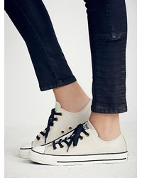 Free People - White Converse Womens Vintage Leather Low Tops - Lyst