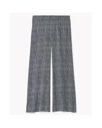 Theory | Blue Silk Stripe Wide Leg Pant | Lyst