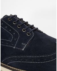 ASOS - Blue Brogue Shoes In Suede for Men - Lyst