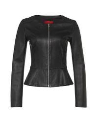 HUGO | Black Leather Jacket: 'lorine' | Lyst