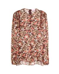Giamba - Purple Embroidered Floral Silk Blouse - Lyst