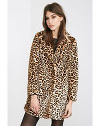 61cd9ee67 Forever 21 Multicolor Leopard Print Faux Fur Coat