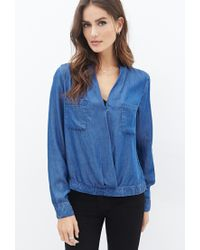 Forever 21 | Blue Chambray Surplice Top You've Been Added To The Waitlist | Lyst
