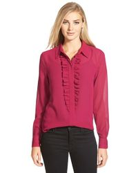 Cece by Cynthia Steffe | Purple Ruffle Front Blouse | Lyst