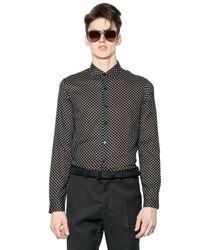 April77 Black Polka Dot Light Cotton Canvas Shirt for men