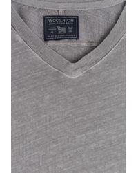 Woolrich Gray Cotton-Linen T-Shirt for men